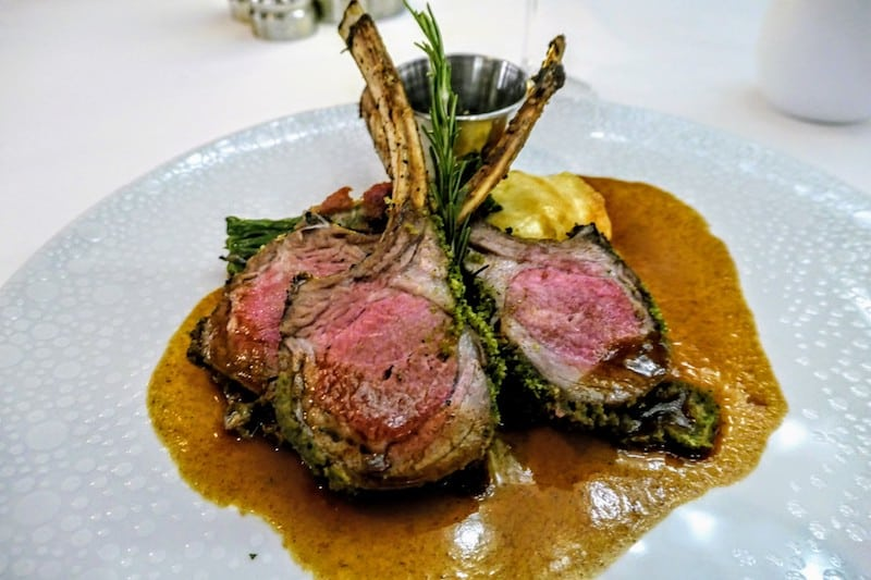 Rack of lamb cooked to perfection, dinner at The Haven Restaurant