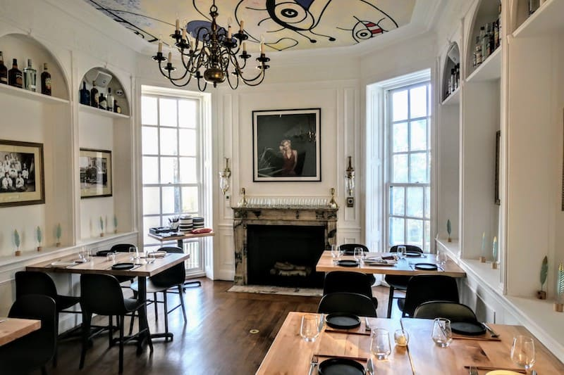 One of four intimate dining rooms at Goosefeather, set in an historic mansion