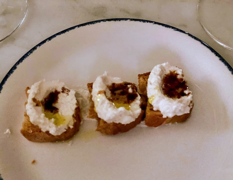 Best Meals: Our meal started with an amuse bouche: Fresh ricotta topped with aged balsamic vinegar and olive oil