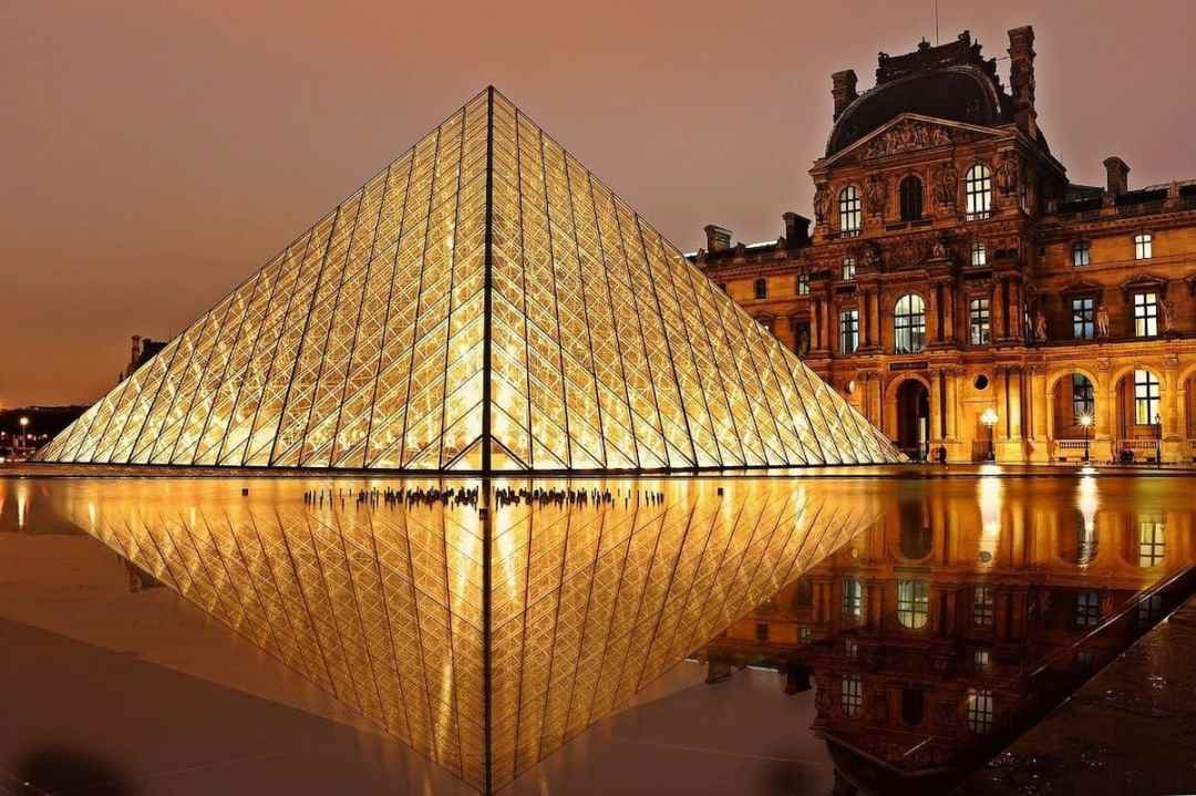 The Louvre Pyramid., an entrance to the museum designed by I.M. Pei