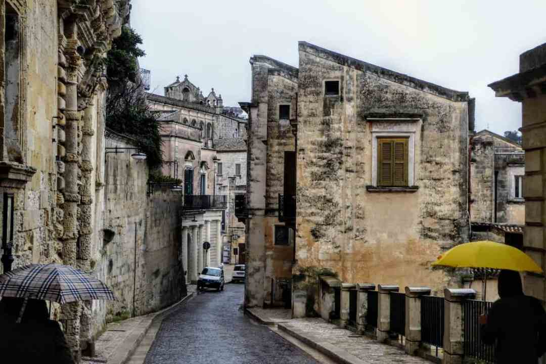Winding street in the historic center of Matera