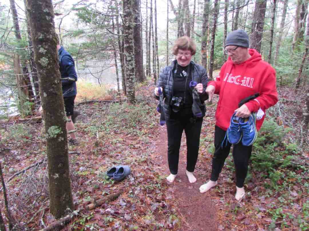 Shedding shoes for the forest bathing hike