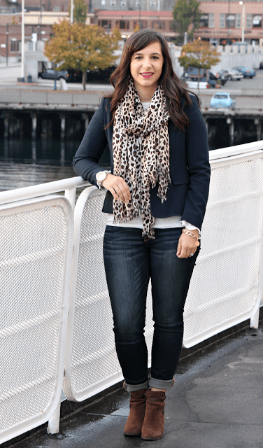 Fall fashion Leopard Scarf Brown Booties Navy Blazer