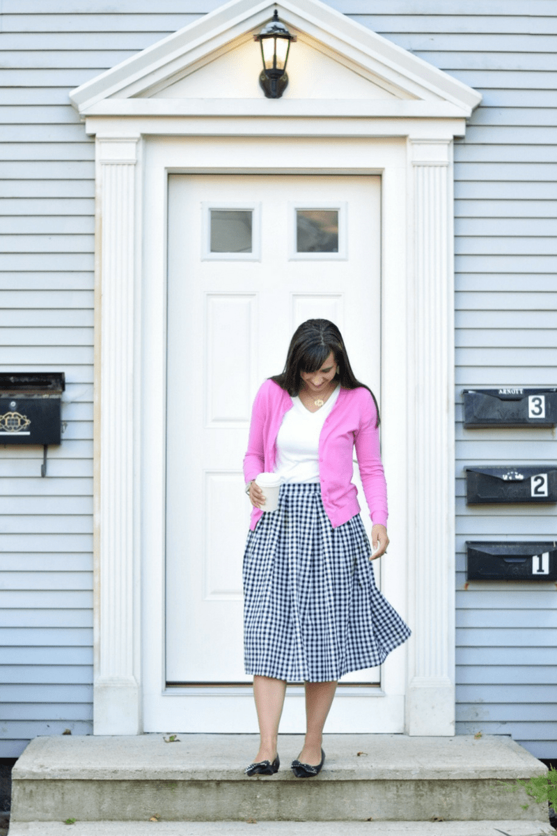 Back to School Outfit for Teachers_Gingham Midi Skirt_Pleated Gingham Skirt