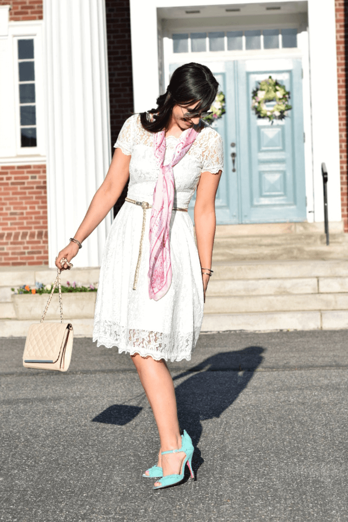 Lace Easter Dress-turquoise heels-betsey johnson-silk scarf