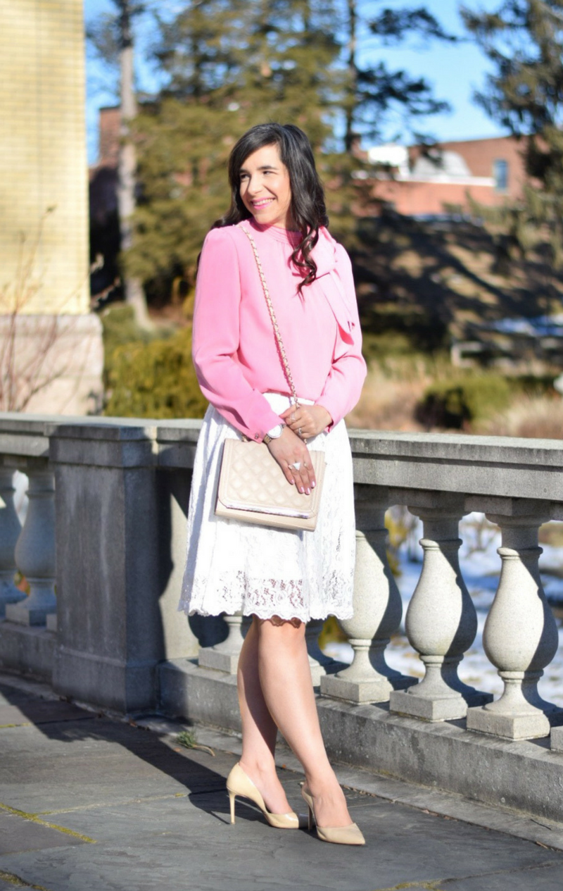 Pink Bow Blouse_White Lace Skirt_White lace dress_Valentine's Day Outfit_Nude Heels_Teacher Fashion