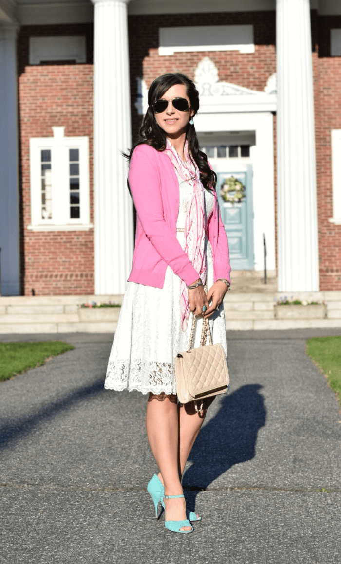 Pink J.Crew Cardigan-white lace easter dress-silk scarf-turquoise heels
