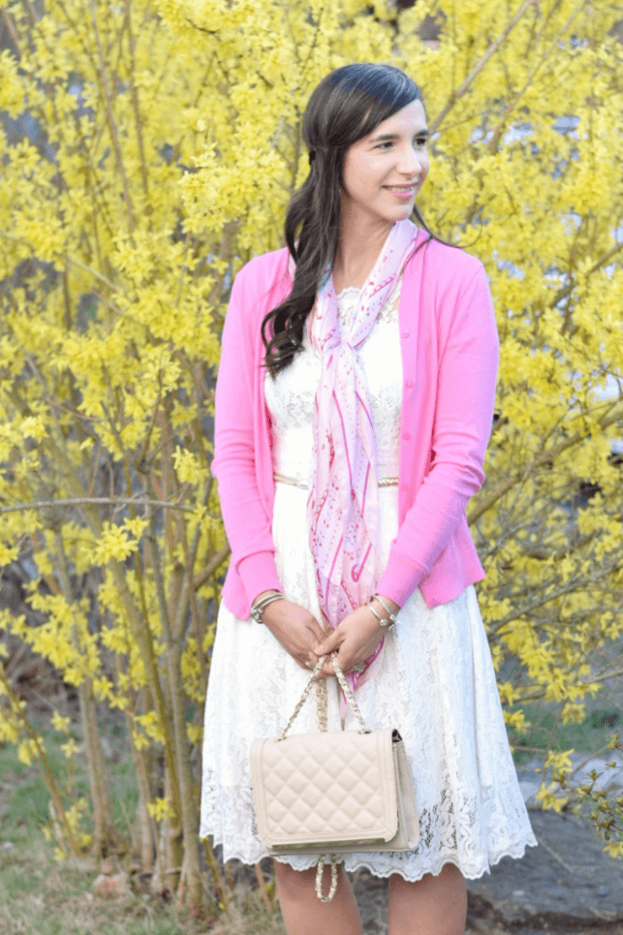 Pink Silk Scarf-white lace dress-pink cardigan-easter outfit