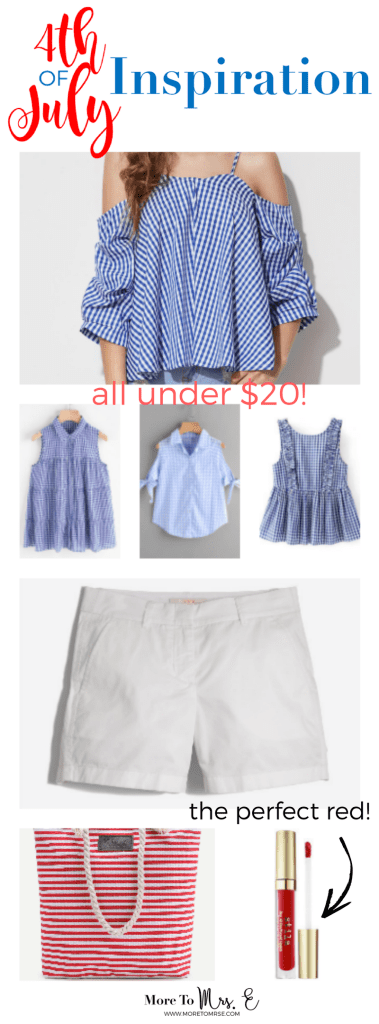 828ee5a258 White Chino Shorts 4th of July Blue Gingham Top Summer Outfit Ideas