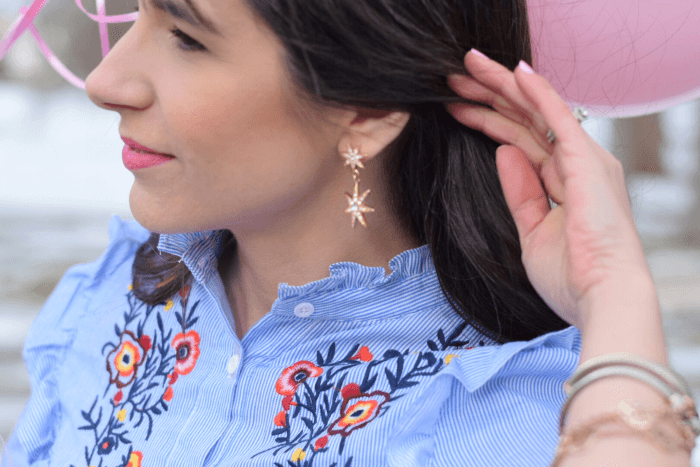 affordable embroidered dress sugarfix by baublebar earrings