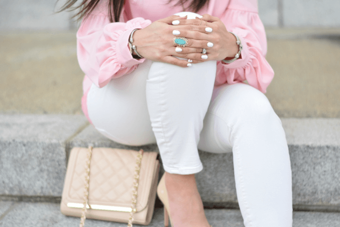 kendra scott owen cocktail ring-white skinny jeans-quilted crossbody bag-pink bishop top