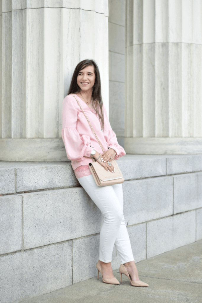 teacher outfit-pink blouse-white skinny jeans-nude pumps