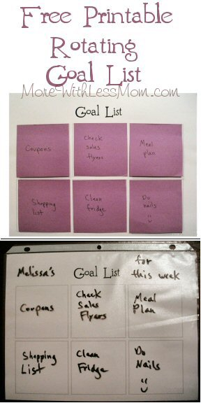 Free Printable Rotating Goal List