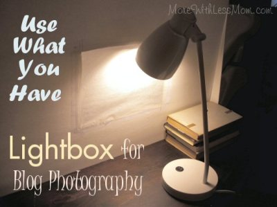 Use What You Have Lightbox for Blog Photography from The More With Less Mom