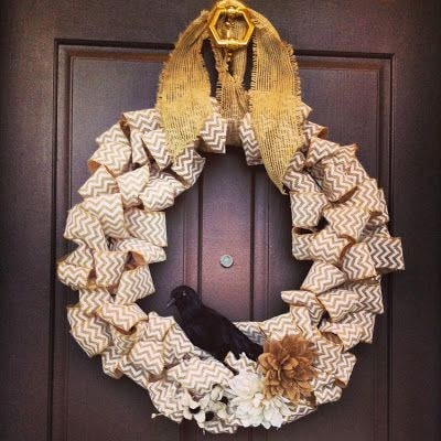 Easy fall wreath, front door fall wreath, Hobby Lobby burlap wreath, DIY fall wreath, burlap crafts, Hobby Lobby for wreath project