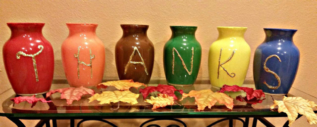 DIY decor, crafts using glassware, Goodwill DIY crafts, make Thanksgiving decor, painting glass vases, Goodwill finds repurposed