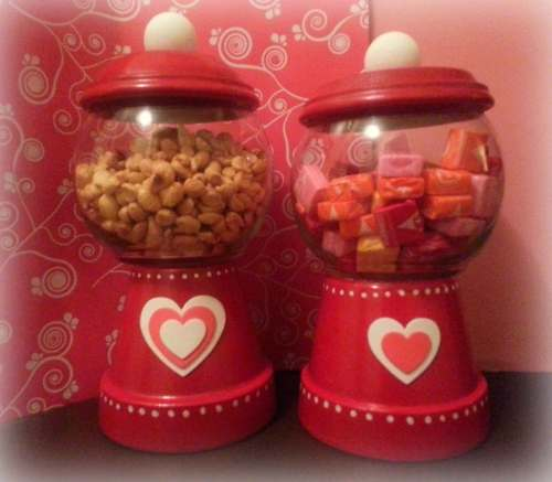 Valentine's Day decor from Goodwill finds, repurpose Goodwill items into fun and festive candy displays, use commonly found objects to craft Valentine's Day