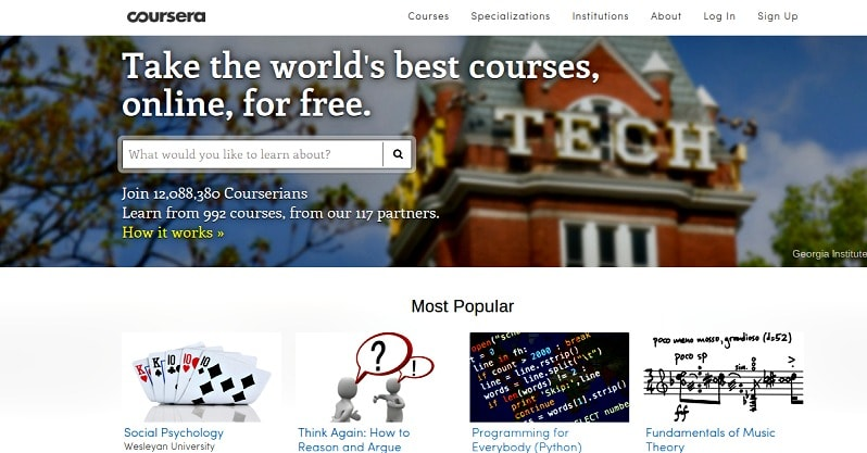 what is Coursera? learn for free at Ivy league and top universities, take free college classes, site for free college classes, online free college courses