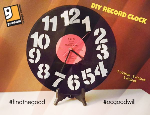 make a cool retro clock from an old vinyl record, step by step directions turn an old record into a clock, re-purpose an old clock and make a record clock