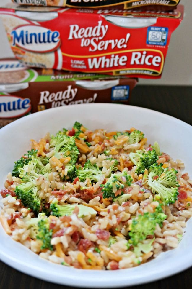 Cheesy Broccoli Rice Salad with Bacon