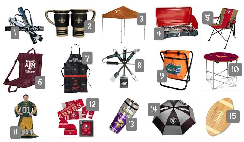 game day gear for the football fan, tailgate gear, NFL football tailgate supplies, NFL stadium chairs, portable tailgate tables and chairs, football tailgate