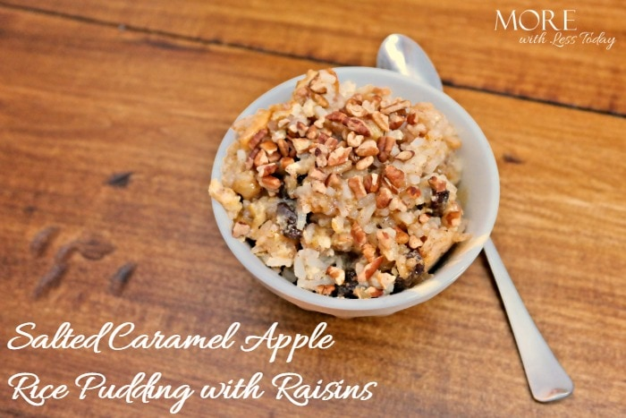 Salted Caramel Apple Rice Pudding with Raisins