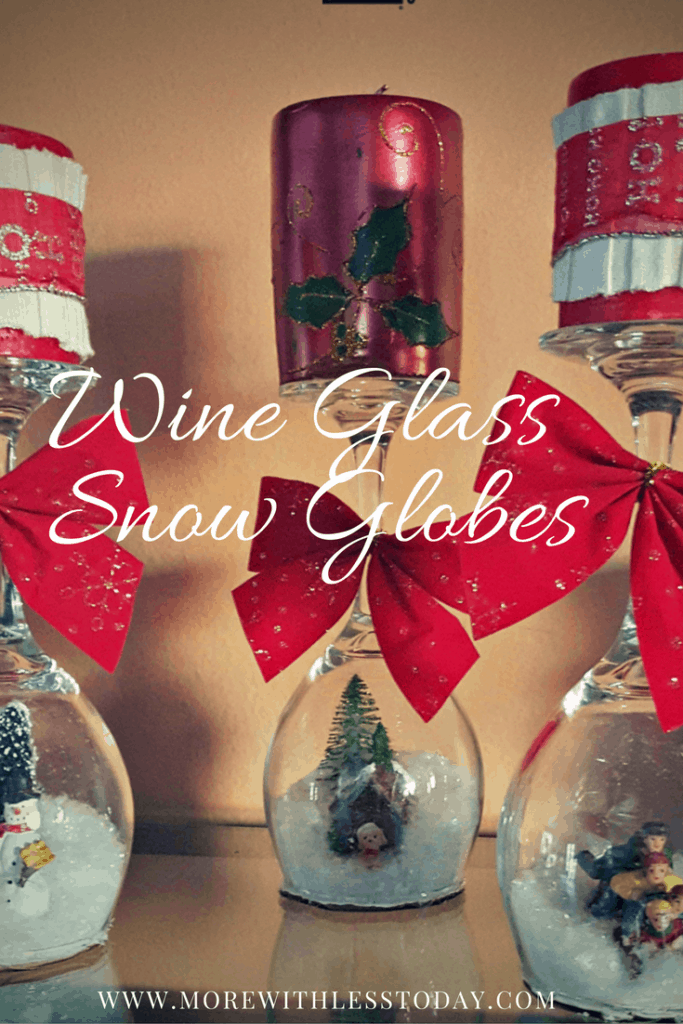 These DIY snowglobes made inside wine glasses are easy and adorable. We found our supplies at Goodwill. Gather old wine glasses and make these for gifts.