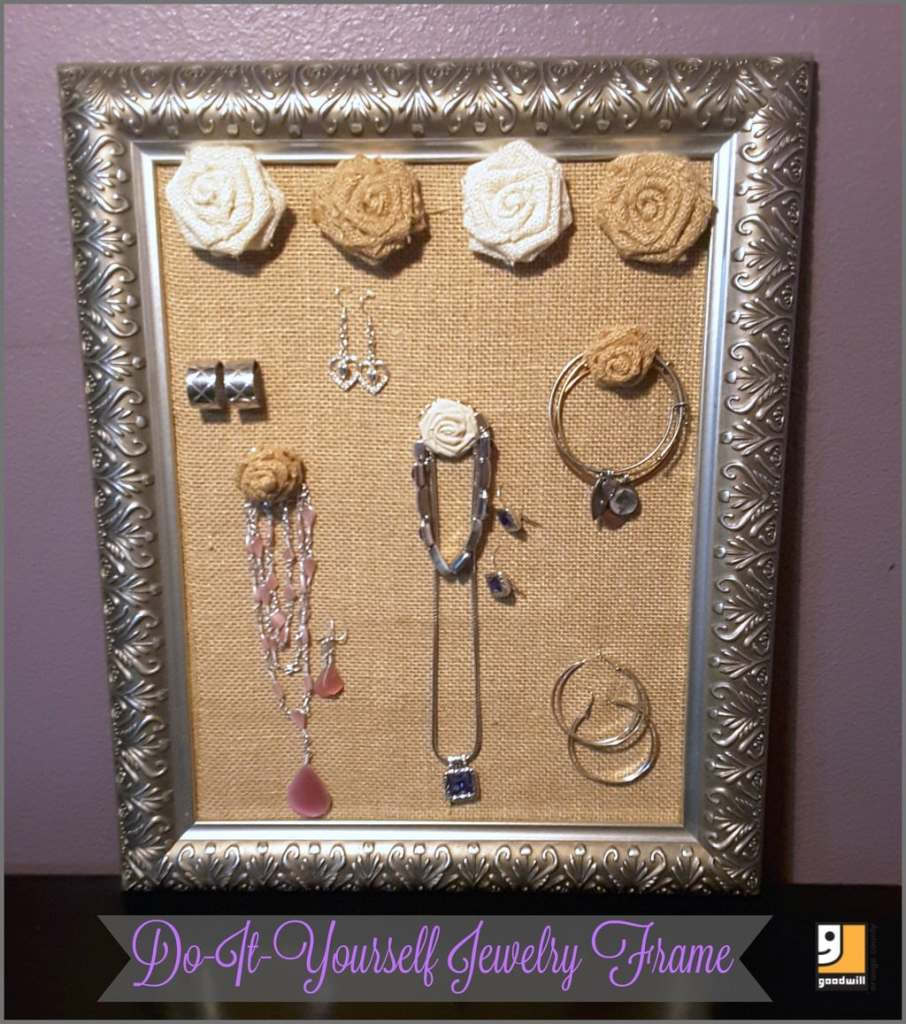 make a DIY jewelry organizer from an old picture frame, ways to use an old picture frame, crafts using frames, Goodwill crafts, ways to organize jewelry