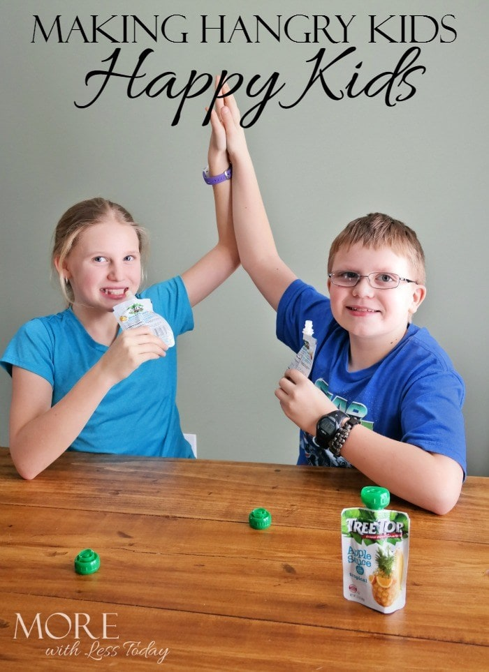 Hangry kids are hungry and angry, Tree Top applesauce pouches healthy snacks for kids, Hangry2Happy,made in the USA snacks, portable kid snacks, applesauce pouches, AD