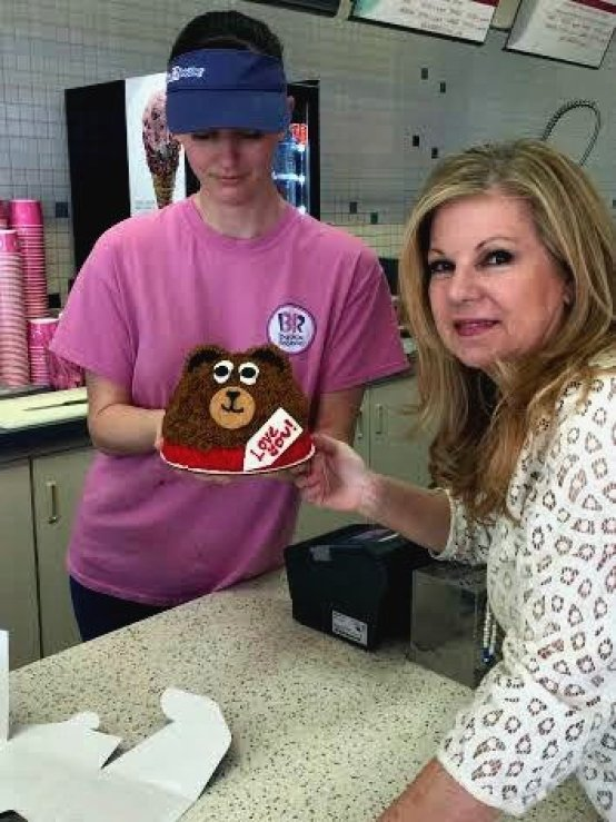 picking up the baskin-robbins cake