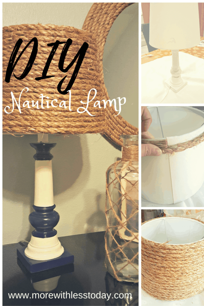 DIY an old lamp using rope and turn it into nautical decor for your home, repurpose a Goodwill lamp in a few easy steps
