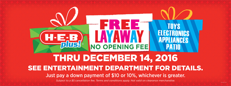 Are you looking for HEB store layaway info for 2016? We have the details and other stores offering layaway this year. Layaway can be a good option for holiday gifts.
