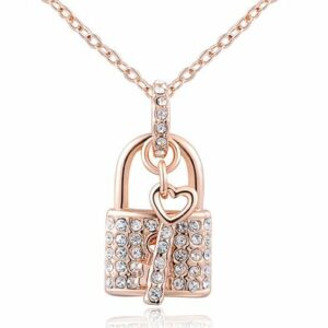 women-charm-lady-jewelry-pendant-rose-gold-century-blockade-chain-necklace