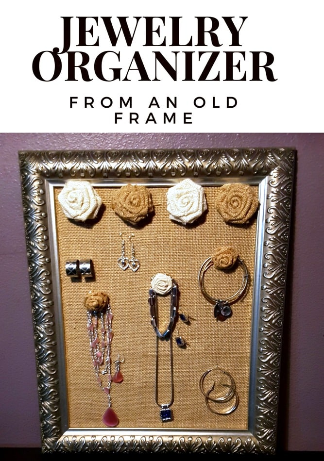 You can make a DIY jewelry organizer from an old picture frame. Easily organize your jewelry and make an extra one for a gift.