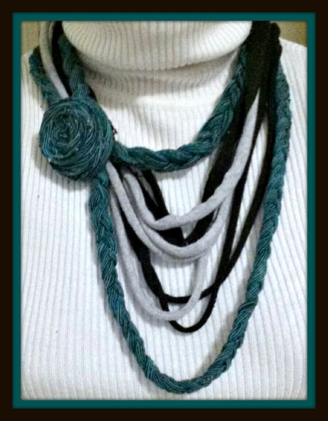 Here is how to make a one of a kind DIY necklace from old t-shirts. It's an easy no-sew project if you love to reuse and recycle.