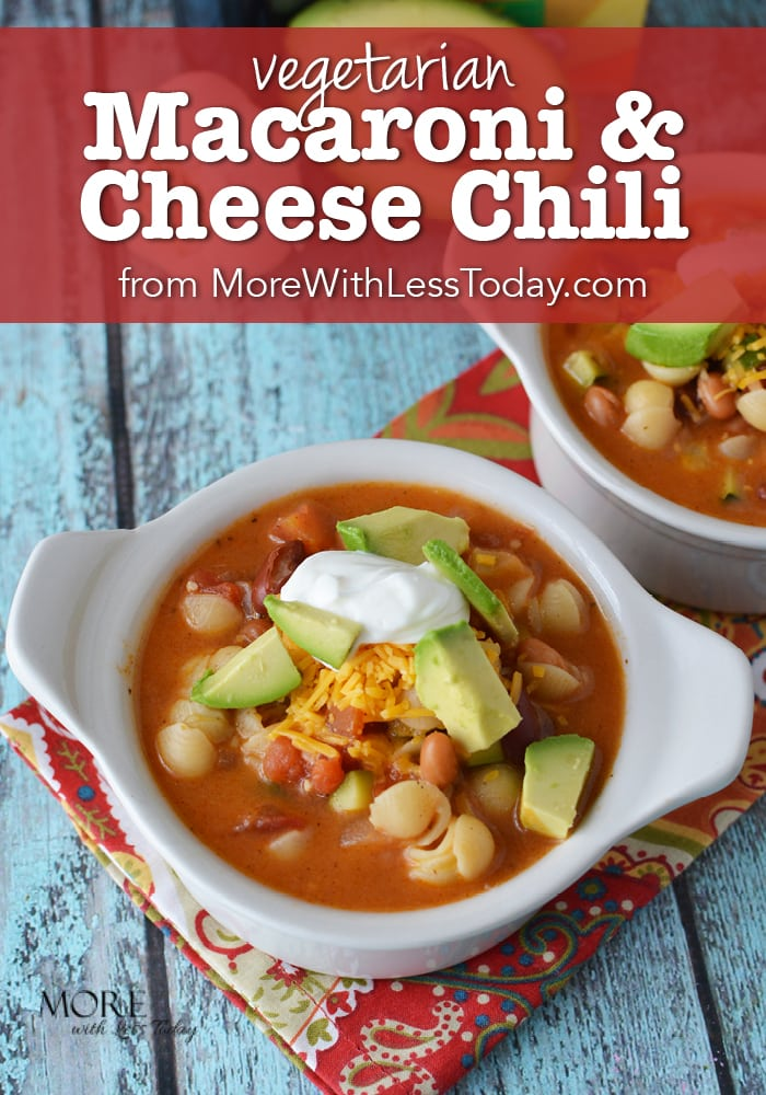 Does your family love mac and cheese? Try it as a main dish with our Vegetarian Macaroni and Cheese Chili Recipe. It's easy, quick and delish!