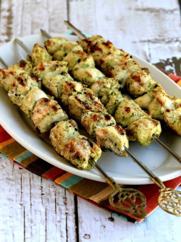 favorite grill recipes pesto chicken kabobs
