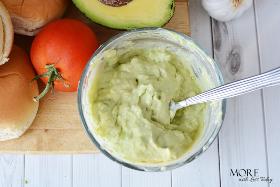 Easy Gourmet Style Burger with Garlic and Avocado Topping