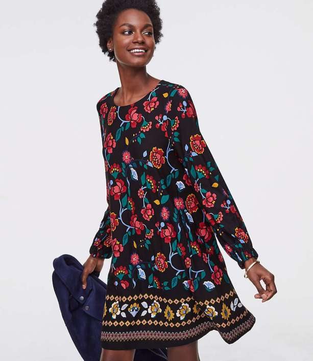 Stained Glass Floral Swing Dress from The LOFT