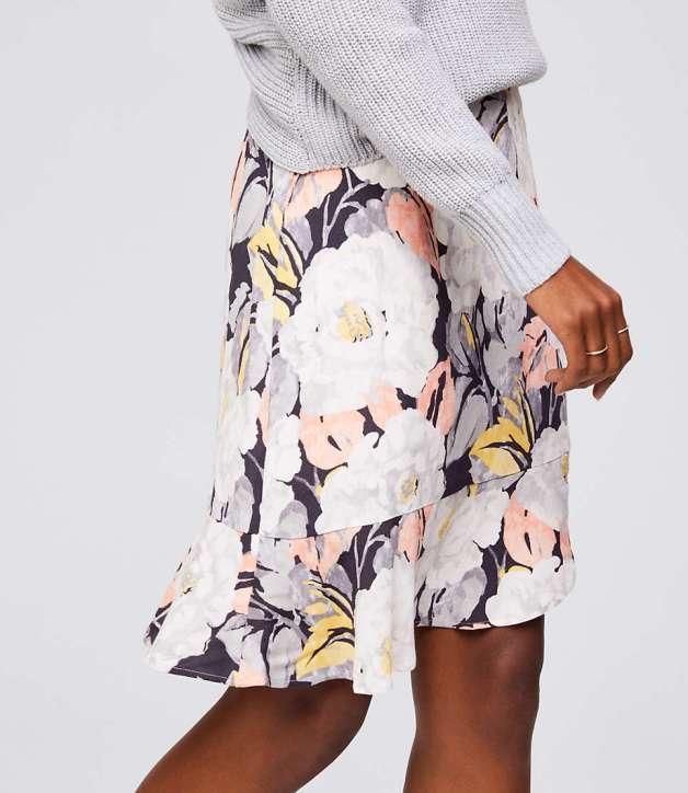 Floral Flounce Skirt from The LOFT