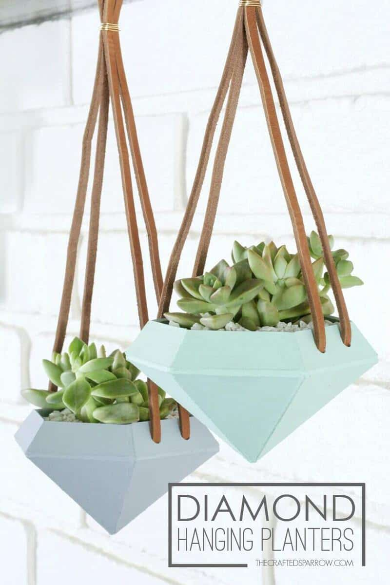 Hanging Planters Part - 47: Ceramic Daimond Shaped Hanging Planters