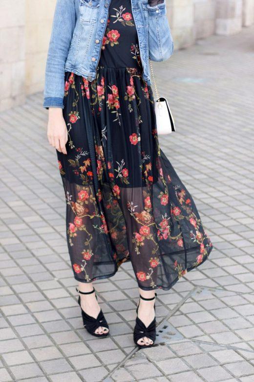 look robe longue fleurs printemps