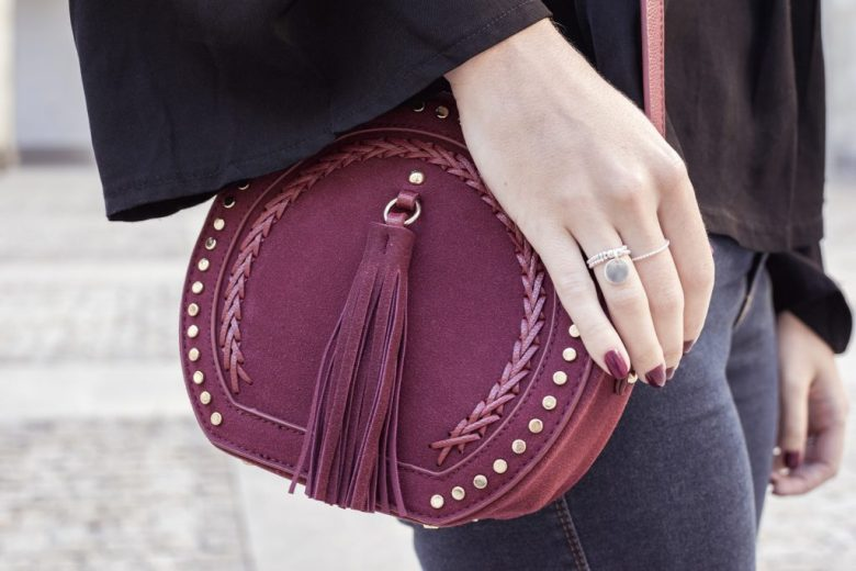 sac bourse bordeaux clous pretty wire