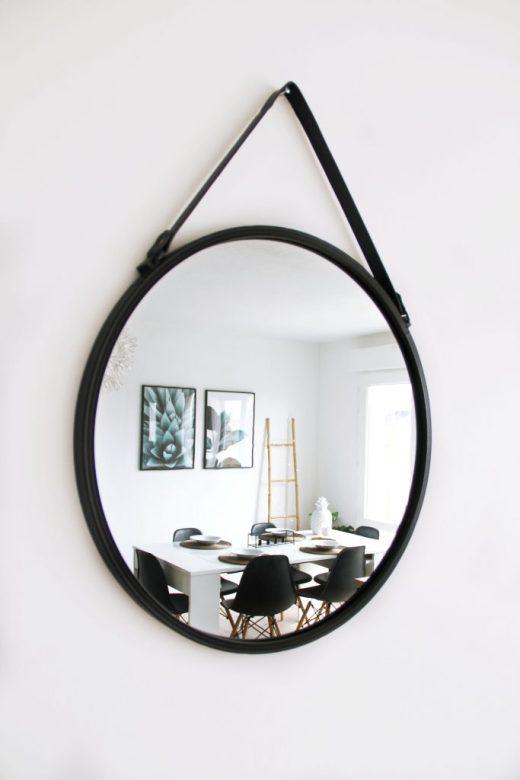 miroir rond noir
