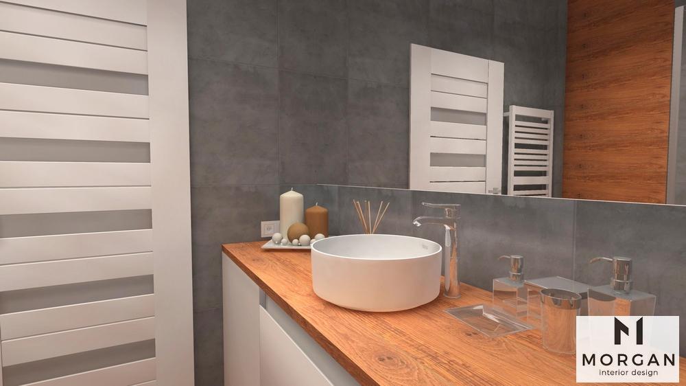 Aranżacja Szarej łazienki Z Drewnem Morgan Interior Design