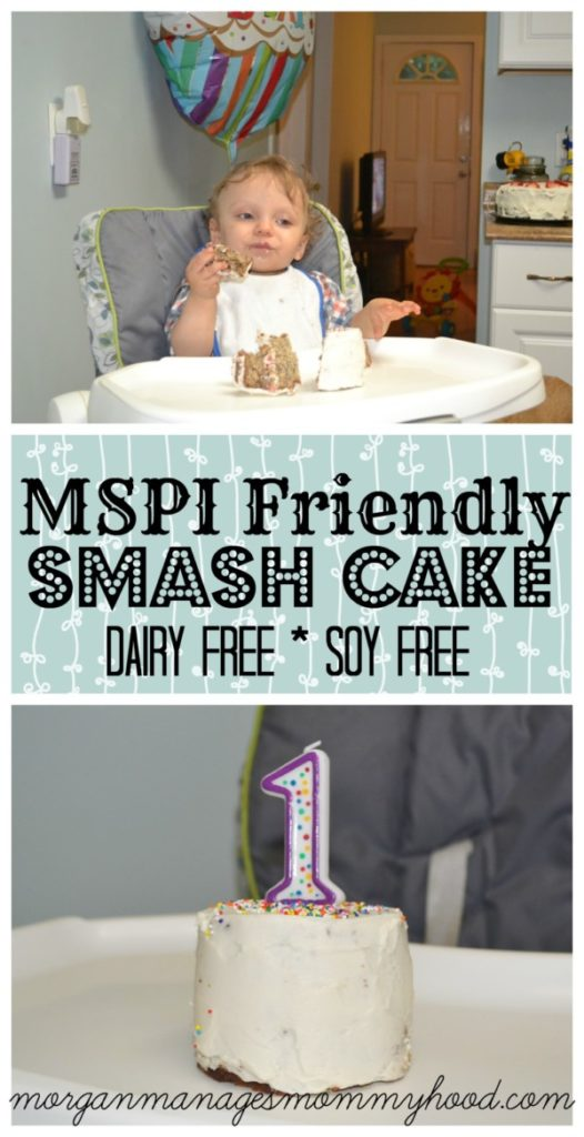 Do you need a dairy free soy free birthday cake for a smash cake? This MSPI Friendly smash cake is delicious, wholesome, and milk soy protein intolerance safe!