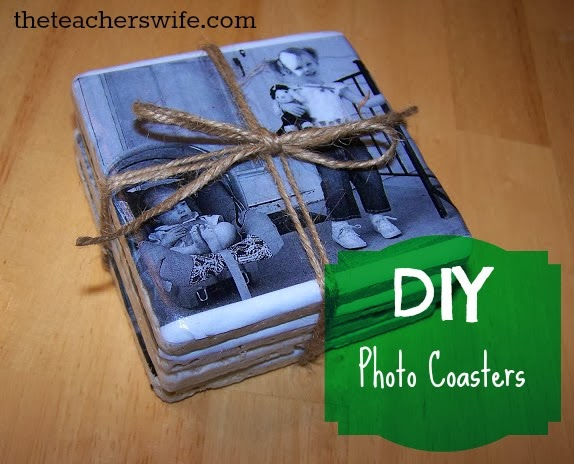 "a stack of homemade photo coasted wrapped in twin with ""DIY Photo Coasters"" on the image"