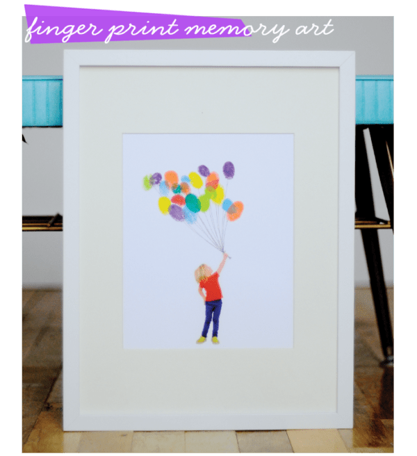 a photo of a person holding balloons where the balloon are fingerprints framed in a white frame