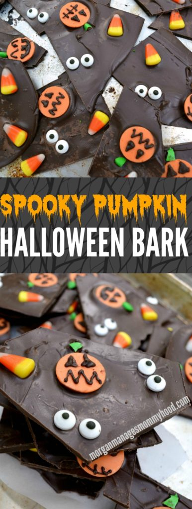 This simple chocolate Halloween bark takes a simple treat to the next level with spooky pumpkins, candy corn, and glaring eyeballs- it's sure to be a hit with your favorite ghosts and ghouls this holiday!