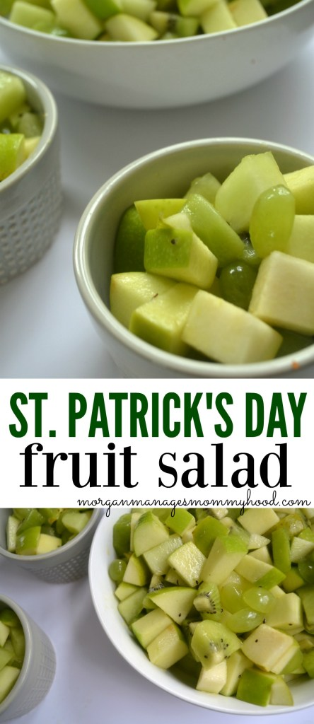 A simple and healthy treat, this St. Patrick's Day Fruit Salad is a fun was to celebrate the holiday! Packed with all of your favorite green fruits, you won't need luck for your kiddos to love it!